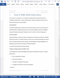 Work Instruction Template How To Write Work Instructions With Ms Word Templates