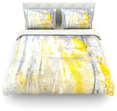 lynn tice abstraction gray yellow cotton duvet cover twin 68 x88