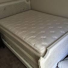 Queen size bed frame, pillow top mattress and box spring. Gently used (guest