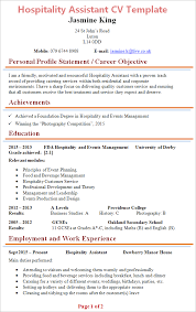 Hospitality Assistant Cv Template Tips And Download Cv Plaza