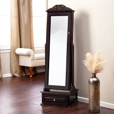 standing mirror jewelry armoire black