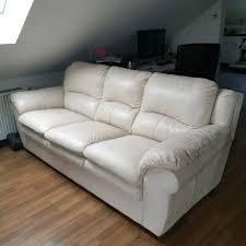 Sofa 2 Teilig In Creme Kunstleder Wohnlandschaft