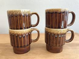 4pcs stackable stainless steel 12oz coffee cups double layer heat insulated coffee mug with stand for home outdoor use. Vintage Stacking Drip Glaze Ceramic Coffee Mugs 8 Oz Japan Brown Set Of 4 Cups Becher Kaffeebecher