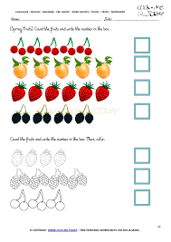 Worksheet 89 - Counting spring fruits worksheet