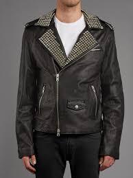 muubaa vortic studded leather biker jacket in black