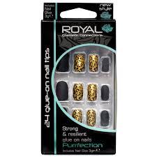 Royal černé A Zlaté Umělé Nehty S Motivy Geparda Sada S Lepidlem Purrfection 24ks A 3g Lepidlo