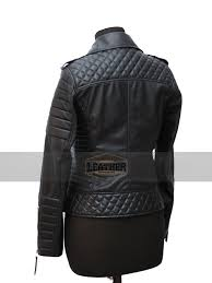 new slim fit diamond quilted biker kay michael black leather jacket for women