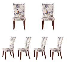 soulfeel 6 x soft spandex fit stretch short dining room chair covers with printed pattern