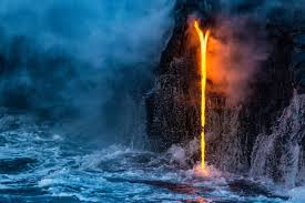 lava jumps into the ocean most beautiful picture