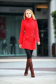 red winter jacket on size m coat fitted military style wool women long 5 womens