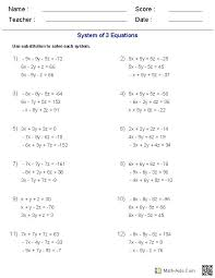 solving algebraic equations worksheets math systems algebraically worksheet best pdf gra