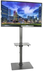 Flat Screen Display Stand STANDTV100 VIVO Black Steel and Glass Shelf TV Presentation Floor 38