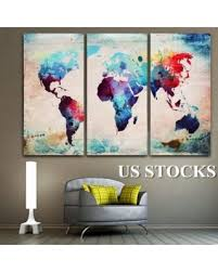 3 pcs oil painting new world map abstract decorative canvas painting no frame wall art display  on world map wall art with photo frames with slash prices on 3 pcs oil painting new world map abstract decorative