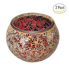 marrakech handmade mosaic glass candle holders with tiny mirror shards set of 2 red