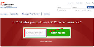 21st century auto insurance quote step 1