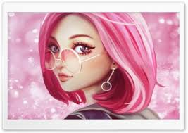 cute pink hair sungles digital art drawing hd wide wallpaper for 4k uhd widescreen desktop
