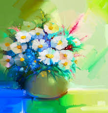 oil painting still life of white gerbera daisies lilac stock ilration ilration
