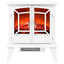 freestanding electric fireplace stove heater in white with vintage glass door realistic