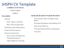 ... reviewed Chapters Other; 22. JHSPH CV Template CURRICULUM VITAE (YOUR  ...