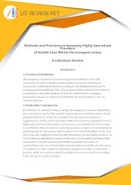Lit Review Best Accurate Health Care Literature Review Example Lit Review