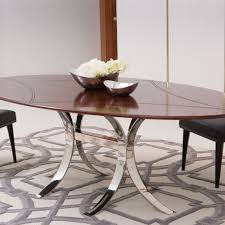 Global Views Santos Oval Dining Table w/Stainless Steel Base
