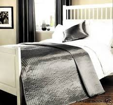 Coopers Fine Furnishings Quilted Silk Effect Bedspread In Silver ... & Coopers Fine Furnishings Quilted Silk Effect Bedspread In Silver Grey 3  Sizes - Single Adamdwight.com