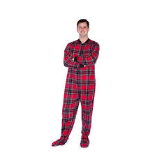Big Feet Pjs Size Chart Ladys Parallel Import Goods Big Feet Pjs Red Black Plaid Cotton Flannel Adult Footie Footed Paja For Disney Disney Pajamas House Coat Night