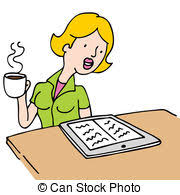 drinking coffee clipart.  Clipart Woman Reading An Ebook And Drinking Coffee  Image Of A And Clipart Can Stock Photo