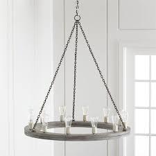 gray round wood rustic chandelier