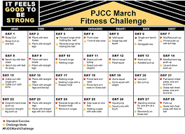 7 Day Squat Challenge Chart Join The Pjcc March Fitness Challenge Peninsula Jewish
