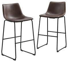 brown bar stools leather faux leather bar stools set of 2 brown brown leather bar stools