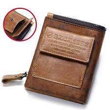 gzcz genuine leather men wallet fashion coin purse