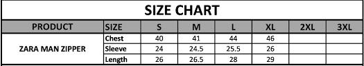 Zipper Size Chart Zara Man Zipper Brands Village