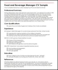 Audit Manager Resume Samples Food And Beverage Manager Cv Sample Myperfectcv