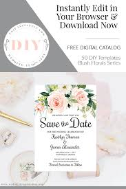 Design Save The Date Cards Online Free Save The Date Templates Blush Florals Edit Online Download