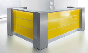 l shaped reception desk. Hover To Zoom; Valde L Shaped Reception Desk With Illuminated High Gloss Yellow Fronts .
