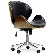 modern wood office chair. Delighful Office Baxton Studio Bruce Modern Office Chair WalnutBlack With Wood Chair Amazoncom