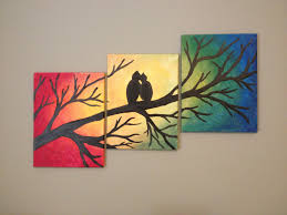 diy canvas painting tree with love birds