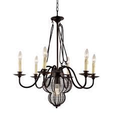 transglobe 7 light black chandelier