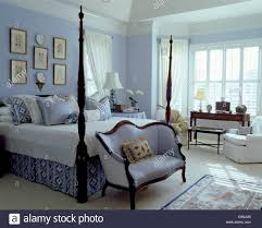Pale Blue Bedroom Pale Blue Sofa Below Bed With Turned Spindles And Blue White