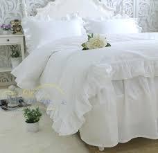 white cotton duvet cover queen princess pure white cotton satin ruffles luxury bedding sets pillowcase bed
