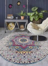 amer rugs manhattan pink ivory yellow ivory teal orange round area rug man 35 rou