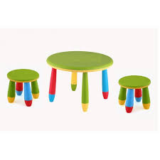 round children s table cpu2005002 with 2 green low stools