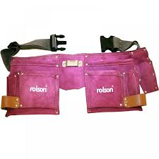 rolson multi purpose double stitched leather tool belt pouch pink