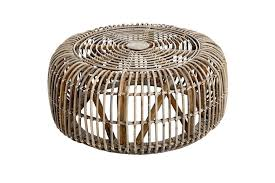 handcrafted round rattan coffee table photo 1