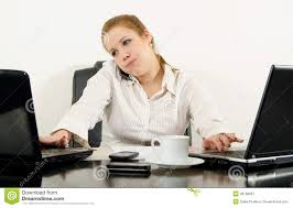 home office multitasking. Home Office Multitasking. Stressed Business Woman Multitasking In Her Office. Using Latest Technology Royalty N