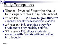 persuasive essay subject should physical education classes be a  body paragraphs thesis physical education should be a required class in middle school