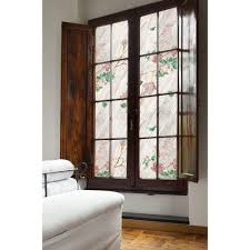 awesome window with floral artscape window film on white wall matched with  wooden floor for home