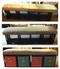 crate bench with storage bins for students journals super simple to make and not very costly supplies milk crates got them for free from kroger