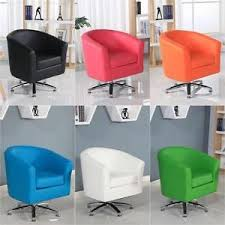 office bucket chair. Image Is Loading DESIGNER-LEATHER-SWIVEL-TUB-CHAIR-ARMCHAIR-DINING-LIVING- Office Bucket Chair